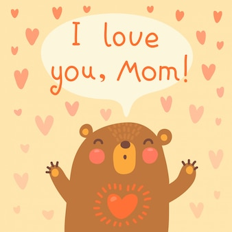 Greeting card for mom with cute bear.