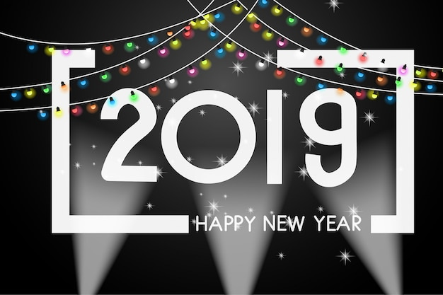 Greeting card new year 2019 cover design template.