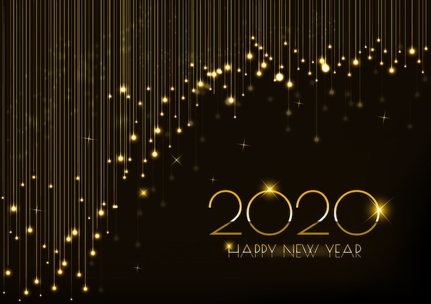 Greeting card for new year 2020 design with glowing lights curtain