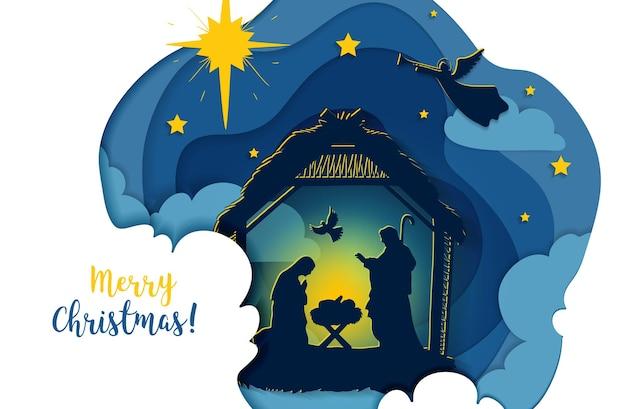 마리아와 요셉이 실루엣으로 있는 구유에 있는 아기 예수의 전통적인 기독교 크리스마스 탄생 장면의 인사말 카드. 거룩한 밤. 벡터 eps 10