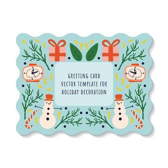 年末年始の雪だるま、時計、ギフト、ロリポップの要素と青い背景のグリーティングカード。