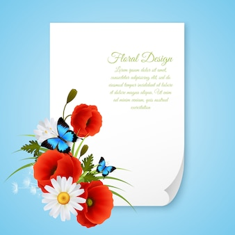 Greeting card paper sheet with text template and floral decoration