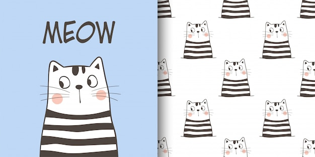 Greeting card and pattern of cat