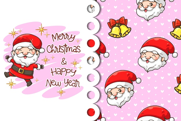 Greeting card and pattern cheerful santa claus cartoon