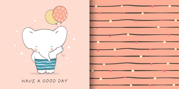 Greeting card and pattern of elephant with balloon