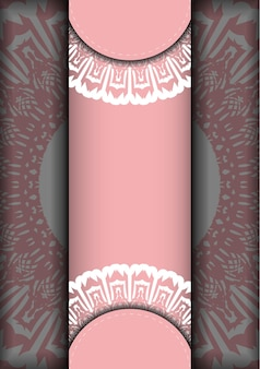 Greeting card in pink with greek white pattern for your brand.