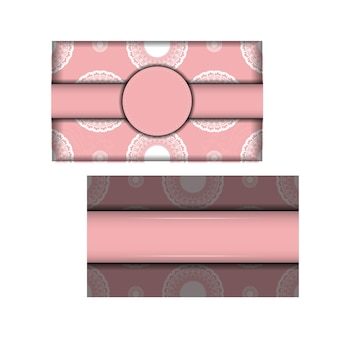 Greeting card in pink with greek white pattern for your design.
