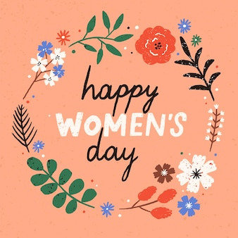 Greeting card or postcard template with happy women s day wish handwritten inside round floral frame or wreath made of blooming spring flowers