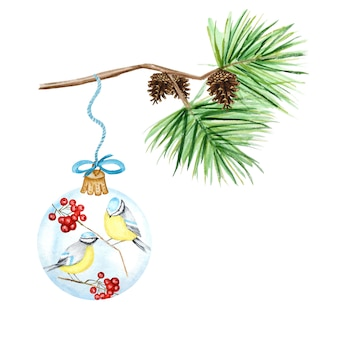 Greeting card, poster concept of pine branches and cones, christmas glass ball with red rowan, winter birds blue tit, watercolor hand drawn illustration