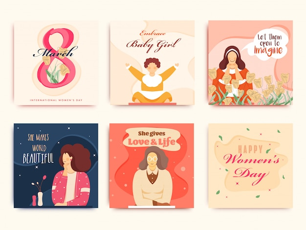 Greeting card or poster design set with female character for 8 march, happy women's day concept.