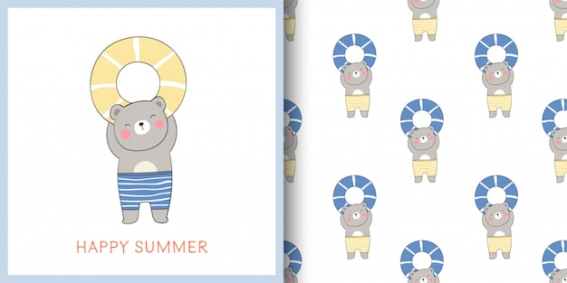 Greeting card and print pattern bear holding rubber ring for summer.