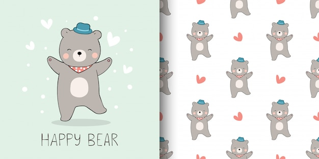 Greeting card and print pattern of bear for kid.