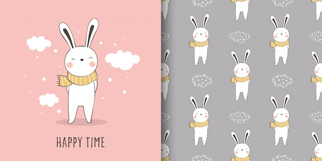 Greeting card and print pattern rabbit fabric textiles kids.