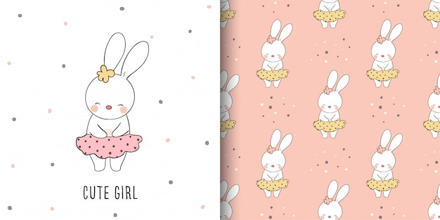 Greeting card and print pattern of rabbit for kid.