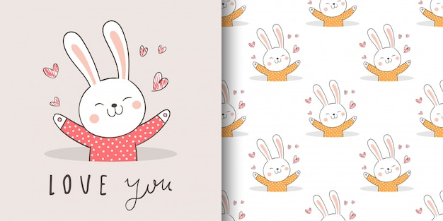 Greeting card and print seamless patter rabbit for fabric textiles kids.