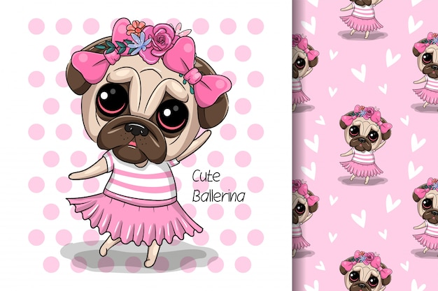 Greeting card puppy girl with flowers on a pink background