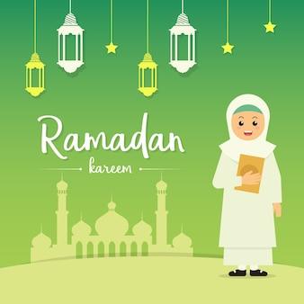 Greeting card ramadan hijab girl
