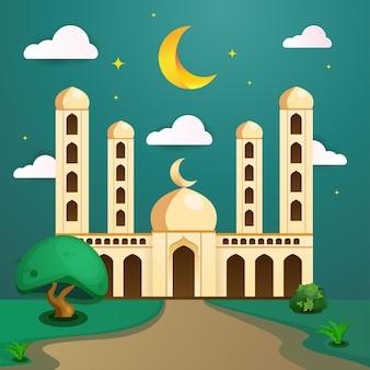 Открытка рамадан карим с зеленой мечетью