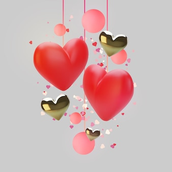 Поздравительная открытка: реалистичные красные сердца