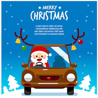 Greeting card of santa claus character driving a car