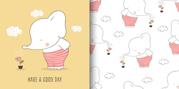 Greeting card and seamless pattern elephant