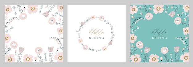 グリーティングカードセット。こんにちは春。花カードと手描きイラスト