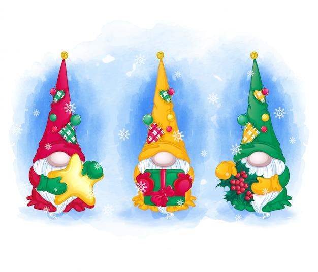 Поздравительная открытка установлена. три веселых гнома в длинных шляпах