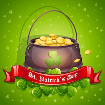 Greeting card for st. patricks day with a pot of gold red ribbon