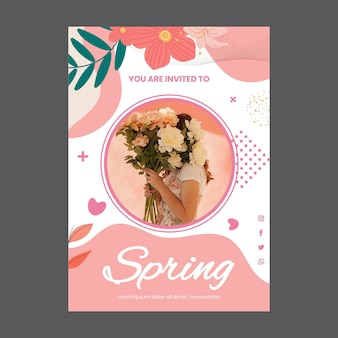 여자와 꽃 봄 파티 인사말 카드 서식 파일 무료 벡터