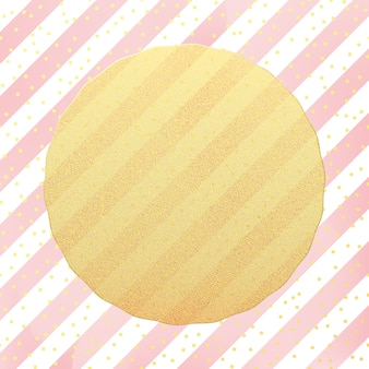 Greeting card template. gold glitter foil dots confetti on striped white and pink background.