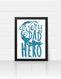 Greeting card template for happy fathers day with hand drawn lettering.