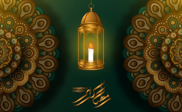 Greeting card template. illustration of 3d fanoos arabic lantern with geometrical mandala pattern with green background and ramadan kareem calligraphy