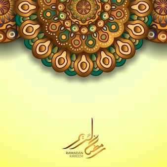 Greeting card template for islamic vector with golden color decorative mandala pattern and ramadan kareem arabic calligraphy