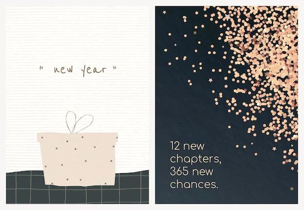 Vettore del modello di biglietto di auguri per il nuovo anno