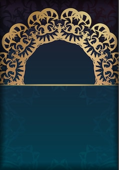 Greeting card template with blue color gradient with luxurious gold ornaments for your brand.
