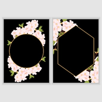 Greeting card template with cherry blossom flower border