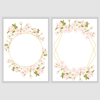 Greeting card template with cherry blossom flower frame