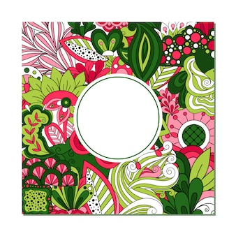 Greeting card template with circle frame