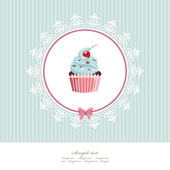Greeting card template with cupcake.
