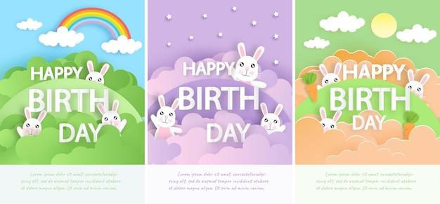 かわいいウサギのグリーティングカードテンプレート。