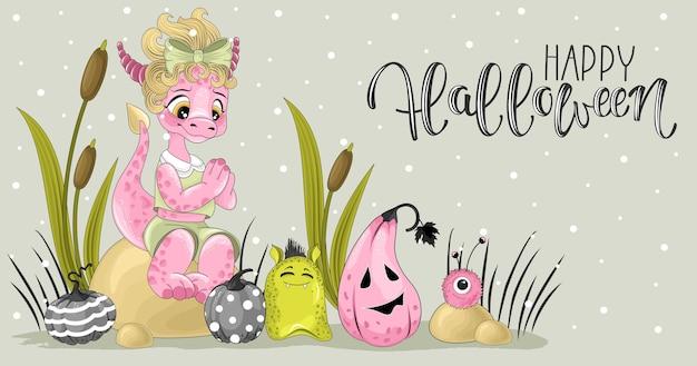 Шаблон поздравительной открытки с милыми драконами
