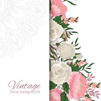 Greeting card template with floral background