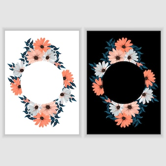 Greeting card template with floral circle border