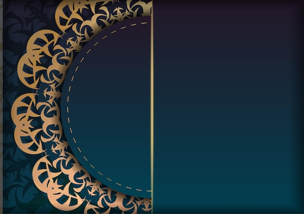 Greeting card template with gradient blue color with luxurious gold ornaments prepared for typography.