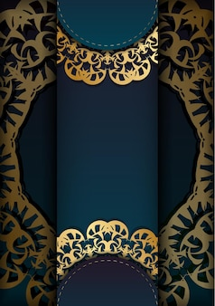 Greeting card template with gradient blue color with luxurious gold pattern prepared for printing.