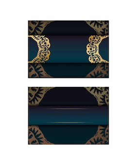 Greeting card template with gradient blue color with luxurious gold pattern prepared for typography.