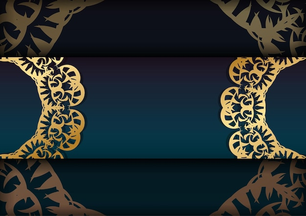 Greeting card template with gradient blue color with luxury gold pattern for your brand.
