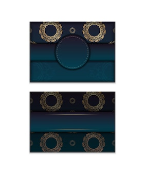 Greeting card template with gradient blue color with vintage gold ornament prepared for printing.