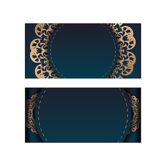 Greeting card template with gradient blue color with vintage gold ornament for your design.