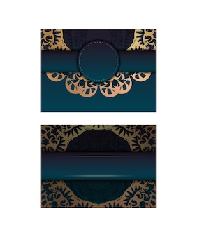 Greeting card template with gradient blue color with vintage gold ornaments for your brand.